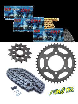 KAWASAKI ER500 [97-06] zestaw napędowy DID520 ZVMX ZŁOTY SUPER STREET (X-ring hiper-wzmocniony) zębatki SUNSTAR